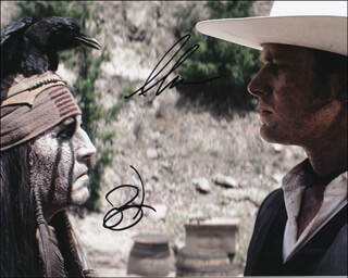 Autographs: THE LONE RANGER MOVIE CAST - PHOTOGRAPH SIGNED CO-SIGNED BY: JOHNNY DEPP, ARMIE HAMMER