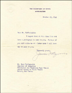 ASSOCIATE JUSTICE JAMES F. BYRNES - TYPED LETTER SIGNED 10/23/1945