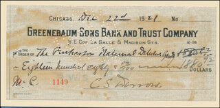 CLARENCE DARROW - AUTOGRAPHED SIGNED CHECK 12/22/1921