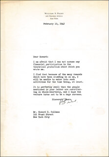 WILLIAM S. PALEY - TYPED LETTER SIGNED 02/10/1942