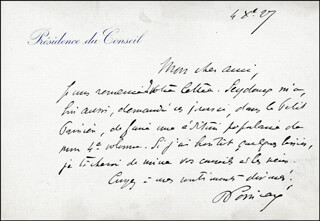 PRIME MINISTER RAYMOND POINCARE (FRANCE) - AUTOGRAPH LETTER SIGNED 10/04/1927