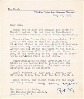 ROSA PONSELLE - TYPED LETTER SIGNED 07/26/1955