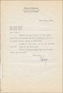 SIGMUND ROMBERG - TYPED LETTER SIGNED 06/26/1947