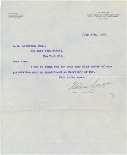 ELIHU ROOT - TYPED LETTER SIGNED 07/27/1899