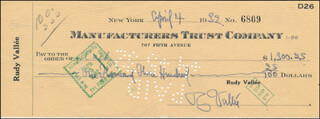 RUDY VALLEE - AUTOGRAPHED SIGNED CHECK 04/04/1932 CO-SIGNED BY: RICHARD HIMBER