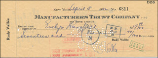 RUDY VALLEE - AUTOGRAPHED SIGNED CHECK 04/03/1932 CO-SIGNED BY: EVELYN LANGFELDT