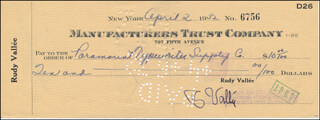 RUDY VALLEE - AUTOGRAPHED SIGNED CHECK 04/02/1932