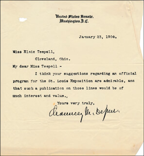 Autographs: CHAUNCEY M. DEPEW - TYPED LETTER SIGNED 01/23/1904