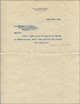 ASSOCIATE JUSTICE WILLIAM R. DAY - TYPED LETTER SIGNED 03/27/1916