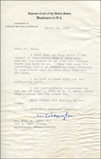 ASSOCIATE JUSTICE WILLIAM O. DOUGLAS - TYPED LETTER SIGNED 03/19/1962
