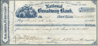 GOVERNOR JOHN THOMPSON HOFFMAN - AUTOGRAPHED SIGNED CHECK 03/31/1868 CO-SIGNED BY: RICHARD B. CONNOLLY, JOSEPH H. TOONE