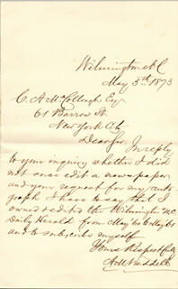 Autographs: ALFRED M. WADDELL - AUTOGRAPH LETTER SIGNED 05/05/1873