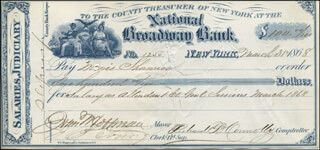 GOVERNOR JOHN THOMPSON HOFFMAN - AUTOGRAPHED SIGNED CHECK 03/31/1868 CO-SIGNED BY: RICHARD B. CONNOLLY, MORRIS SHANNON