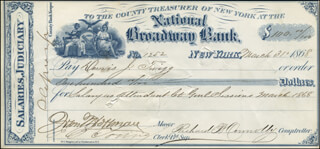 GOVERNOR JOHN THOMPSON HOFFMAN - AUTOGRAPHED SIGNED CHECK 03/31/1868 CO-SIGNED BY: RICHARD B. CONNOLLY, DENNIS J. TWIGG