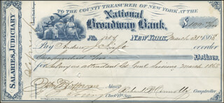 GOVERNOR JOHN THOMPSON HOFFMAN - AUTOGRAPHED SIGNED CHECK 03/31/1868 CO-SIGNED BY: RICHARD B. CONNOLLY, ANDREW J. SWIFT