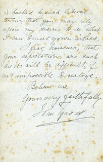 JOHN TYNDALL - AUTOGRAPH LETTER SIGNED 03/18/1889