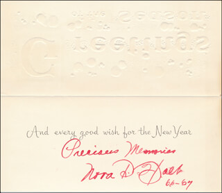 NORA D. HOLT - CHRISTMAS / HOLIDAY CARD SIGNED 1966
