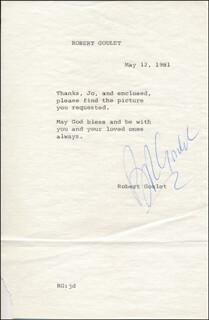 ROBERT GOULET - TYPED LETTER SIGNED 05/12/1981