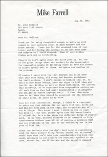 MIKE FARRELL - TYPED LETTER SIGNED 08/25/1992