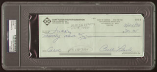 CURT FLOOD - AUTOGRAPHED SIGNED CHECK 03/24/1994
