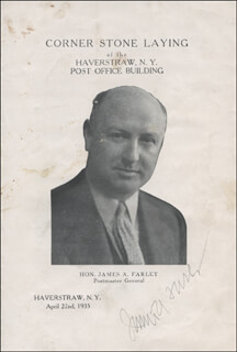 Autographs: JAMES A. FARLEY - PROGRAM SIGNED CIRCA 1935