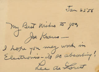 LEE DE FOREST - AUTOGRAPH NOTE SIGNED 01/23/1956  - HFSID 32063