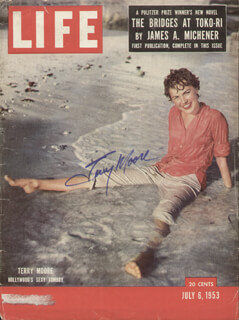 Autographs: TERRY MOORE - MAGAZINE COVER SIGNED