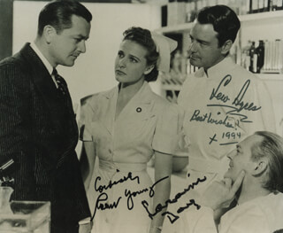 DR. KILDARE'S CRISIS MOVIE CAST - AUTOGRAPHED SIGNED PHOTOGRAPH 1994 CO-SIGNED BY: ROBERT YOUNG, LEW AYRES, LARAINE DAY