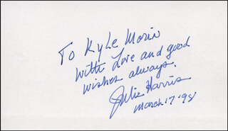 JULIE HARRIS - AUTOGRAPH NOTE SIGNED 03/17/1998
