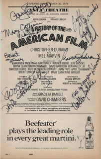 A HISTORY OF THE AMERICAN FILM PLAY CAST - SHOW BILL SIGNED CO-SIGNED BY: BRENT SPINER, GARY BAYER, SWOOSIE KURTZ, DAVID GARRISON, MAUREEN ANDERMAN, MARY CATHERINE WRIGHT, APRIL SHAWHAN, WALTER BOBBIE, JEFF BROOKS, KATE McGREGOR-STEWART