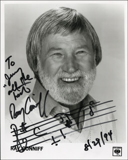 RAY CONNIFF - INSCRIBED MUSICAL QUOTATION ON PHOTO SIGNED 08/29/1994
