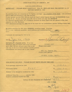Autographs: HOWARD DUFF - DOCUMENT SIGNED 01/20/1966