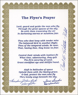 Autographs: ENOLA GAY CREW - POEM SIGNED CO-SIGNED BY: ENOLA GAY CREW (THEODORE VAN KIRK), ENOLA GAY CREW (PAUL W. TIBBETS), ENOLA GAY CREW (COLONEL THOMAS W. FEREBEE)