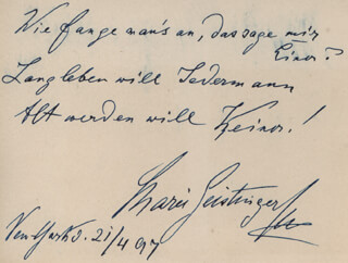 MARIE GEISTINGER - AUTOGRAPH MUSICAL QUOTATION SIGNED 04/21/1897