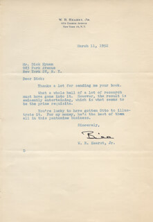 WILLIAM RANDOLPH HEARST JR. - TYPED LETTER SIGNED 03/11/1952