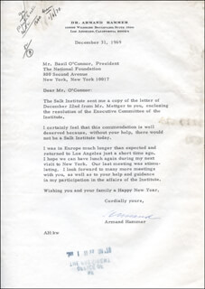 ARMAND HAMMER - TYPED LETTER SIGNED 12/31/1969