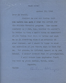 HELEN HAYES - TYPED LETTER SIGNED 08/15/1945