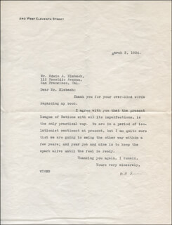 WILL IRWIN - TYPED LETTER SIGNED 03/03/1924