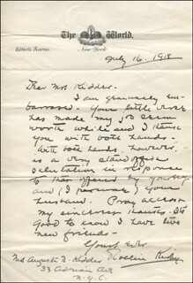ROLLIN KIRBY - AUTOGRAPH LETTER SIGNED 07/16/1918