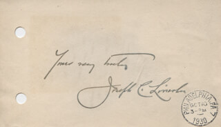 JOSEPH C. LINCOLN - AUTOGRAPH SENTIMENT SIGNED CIRCA 1930