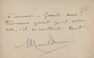 MARCEL PRÉVOST - AUTOGRAPH QUOTATION SIGNED