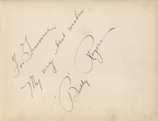 CHARLES BUDDY ROGERS - AUTOGRAPH NOTE SIGNED