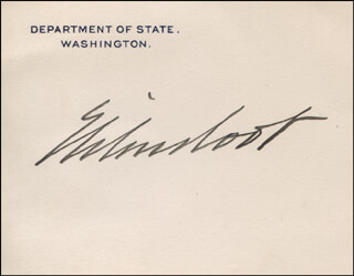 ELIHU ROOT - PRINTED CARD SIGNED IN INK