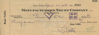 RUDY VALLEE - AUTOGRAPHED SIGNED CHECK 04/22/1932
