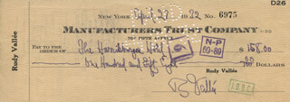 RUDY VALLEE - AUTOGRAPHED SIGNED CHECK 04/27/1932