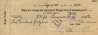 RUDY VALLEE - AUTOGRAPHED SIGNED CHECK 04/25/1932 CO-SIGNED BY: CLIFF BURWELL