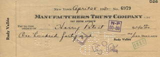 RUDY VALLEE - AUTOGRAPHED SIGNED CHECK 04/25/1932