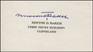 NEWTON D. BAKER - CALLING CARD SIGNED