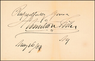 HAMILTON FISH - AUTOGRAPH SENTIMENT SIGNED 05/16/1884