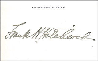 FRANK H. HITCHCOCK - PRINTED CARD SIGNED IN INK